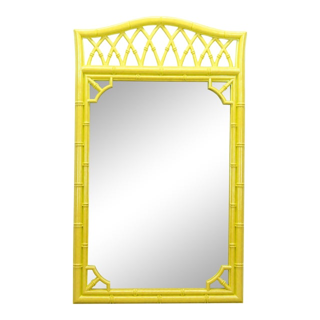Lovely Bright Sunny Yellow Faux Bamboo Mirror For Sale