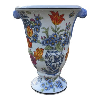 Decorative Ceramic Chinoiserie Floral Vase Urn For Sale