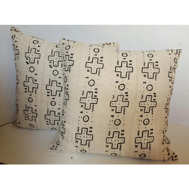 African Cream Mud Cloth Pillows - Pair - Image 2 of 4