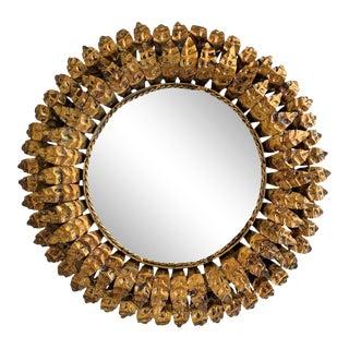 20th Century Spanish Gilt Metal Sunburst Mirror Double Layered Leaf Frame For Sale