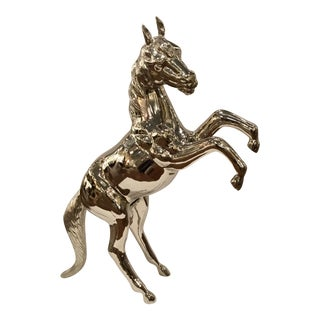 Large Modern Polished Nickel Horse Sculpture For Sale