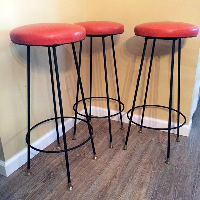 Orange Retro Stiletto Bar Stools - Set of 4 - Image 3 of 10