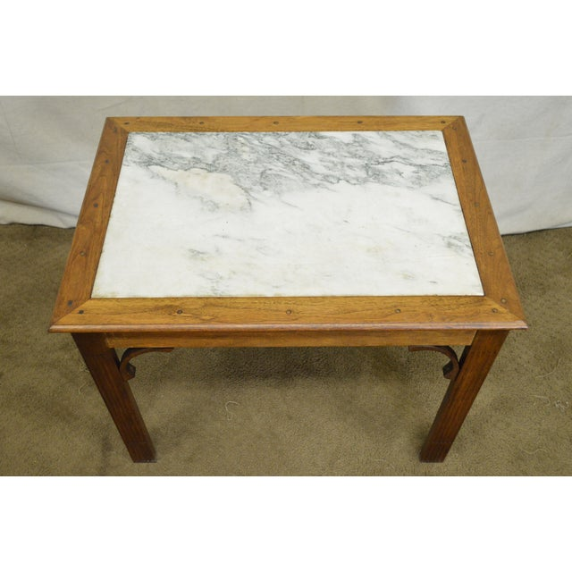 Marble Chippendale Style Custom Walnut Marble Top Side Table For Sale - Image 7 of 11