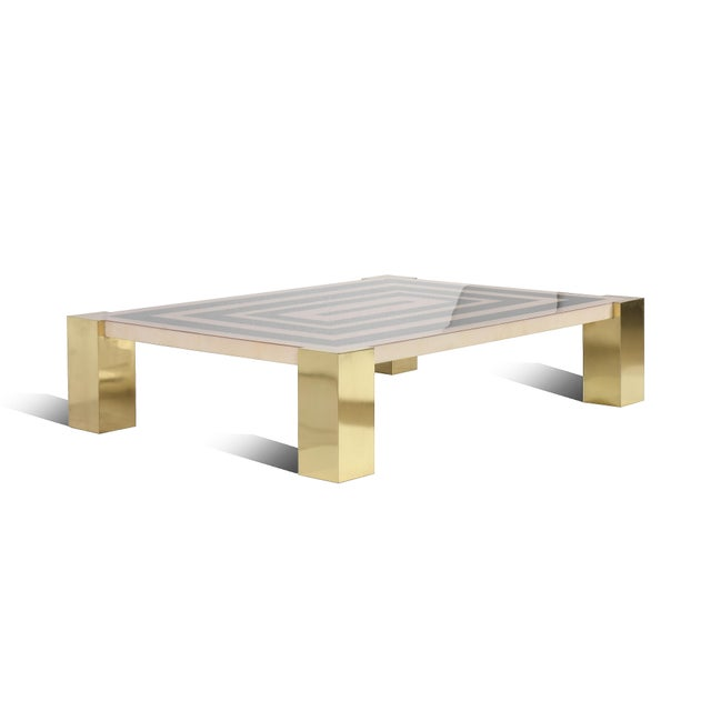 """Art Deco Goatskin Inlay """"Mioni Coffee Table"""" With Brass Cube Legs by Sylvan s.f. For Sale - Image 3 of 5"""