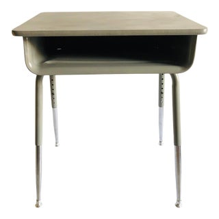 School Desk Vintage Metal W/Adjustable Height/ Silver & Gray For Sale