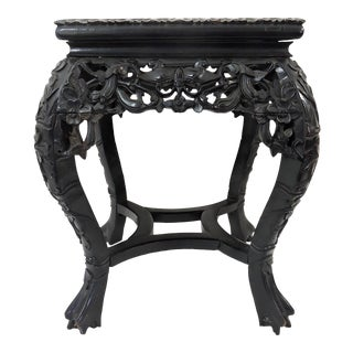 """Early 20th Century Antique Chinese Rosewood & Marble """"Four Butterflies"""" Plant Stand, Pedestal or Side Table For Sale"""