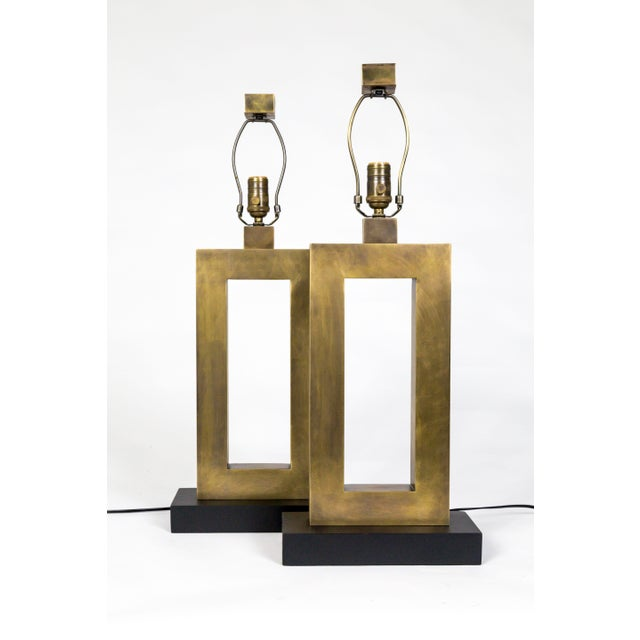 1970s Rectangular Antiqued Brass Table Lamps - a Pair For Sale In San Francisco - Image 6 of 11