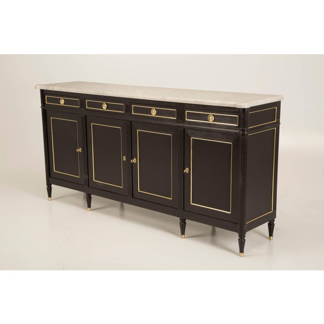 French Louis XVI Style Buffet in an Ebonized Finish With a White Marble Top For Sale - Image 10 of 10