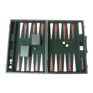 1980s Vintage Hunter Green and Red Backgammon Set With Dominoes, Cards and Cribbage For Sale