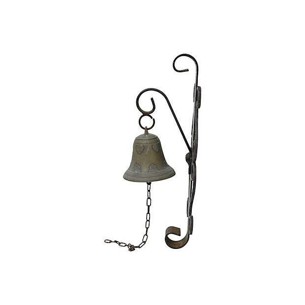 French Antique French Bronze Shop / Garden Bell For Sale - Image 3 of 4