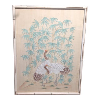 1930s Vintage Chinese Crane Silk Painting For Sale