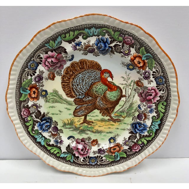1950s Vintage Copeland Spode Turkey Plate For Sale - Image 10 of 10