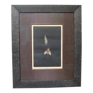 "1970s Vintage Print Japanese ""Fly and Leaf"" Modern Mezzotint Pencil For Sale"