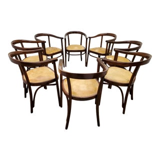 Original Austrian Bentwood Arm Chairs by Thonet - Set of 8 For Sale