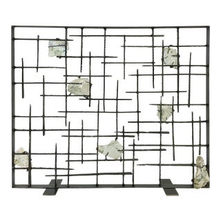 Studio Brutalist Glass and Steel Fireplace Screen by John De La Rosa