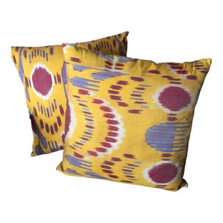 Yellow & Red Silk Ikat Pillow Covers - A Pair For Sale