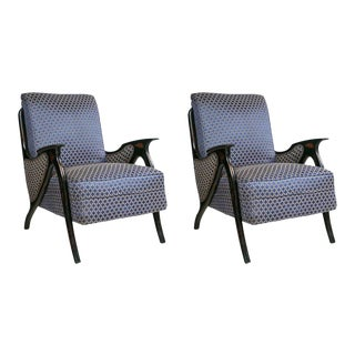 Pair of Mid-Century Modern Newly Upholstered Armchairs For Sale
