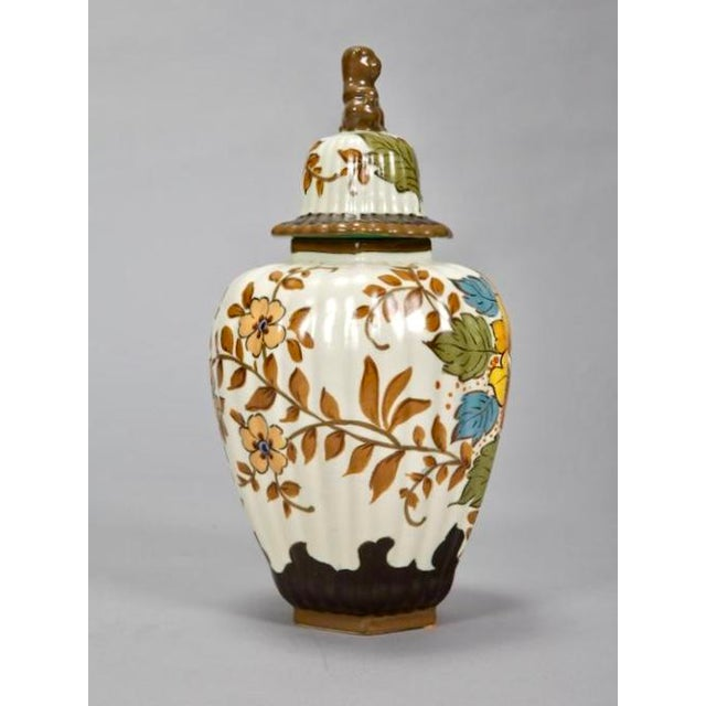 Mid-Century Modern Tall Floral Gouda Vase with Monkey Lid For Sale - Image 3 of 7