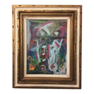 Oil on Canvas Abstract in Vintage Frame For Sale