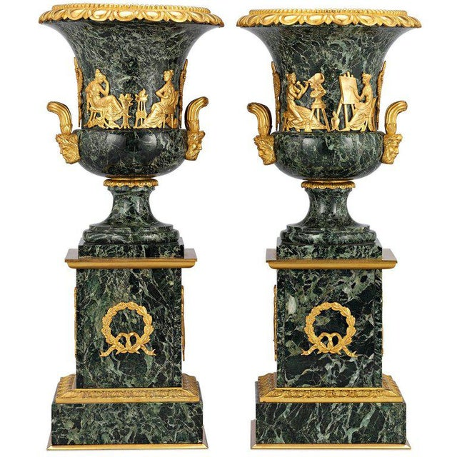 Pair of French Empire Style Marble Urns For Sale In New Orleans - Image 6 of 6