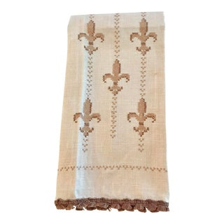 Vintage Fleur De Lis Hand Embroidered Hand Towel For Sale