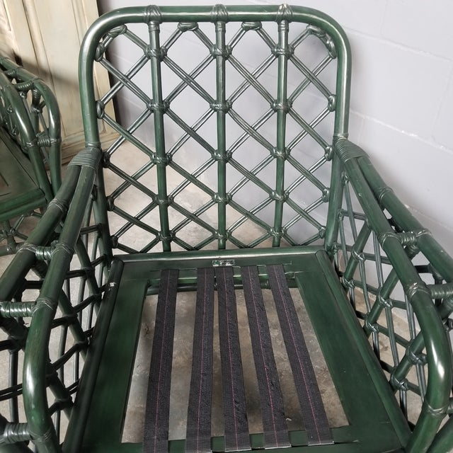 Green 1960s Vintage Ficks Reed Hunter Green Rattan Lounge Chair and Ottoman Set For Sale - Image 8 of 13