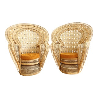 Vintage Rattan and Wicker Peacock Chair - A Pair