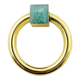 Addison Weeks Porter RIng Pull, Brass & Amazonite For Sale
