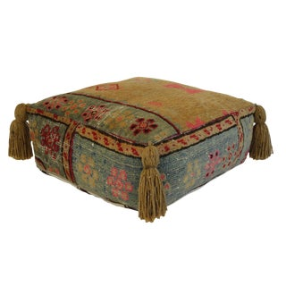 1970s Vintage Silk Turkish Pouf For Sale