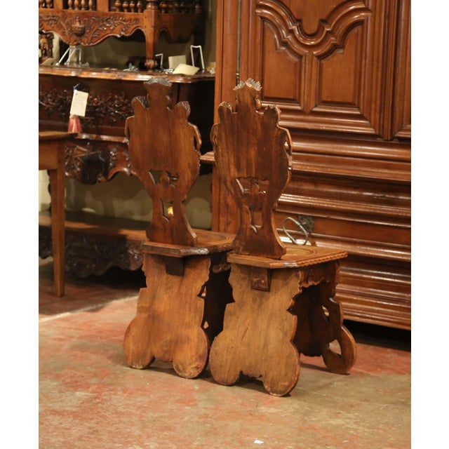 Pair of 19th Century Italian Renaissance Carved Walnut Sgabello Hall Chairs For Sale - Image 12 of 13