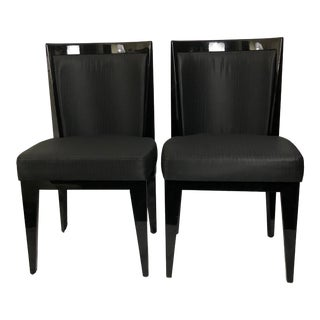 Art Deco Black Lacquer Upholstered Accent Chairs Set of 2 For Sale