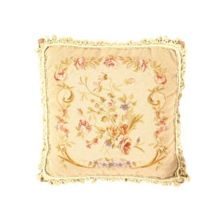 """Traditional Pasargad DC Rose Needlepoint Pillow - 20"""" X 20"""" For Sale"""