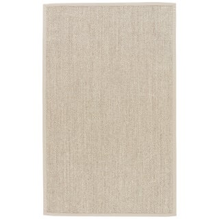 Contemporary Jaipur Living Naples Natural Solid Beige & Ivory Area Rug - 5' X 8' For Sale