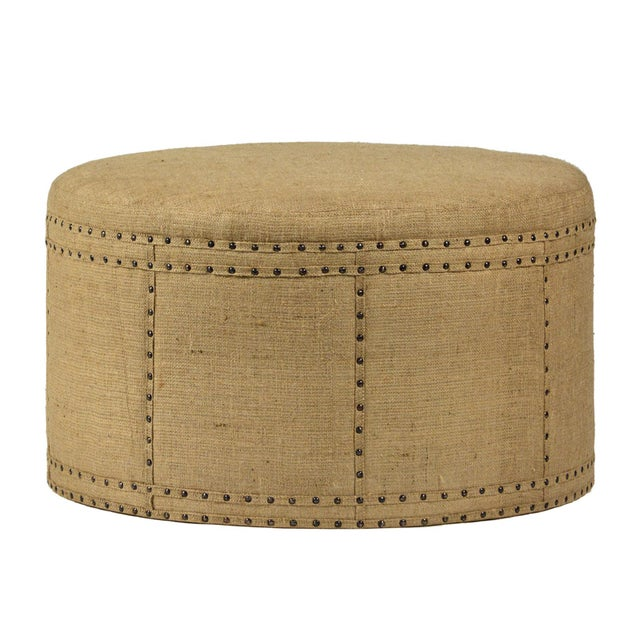 Rustic Round Jute Ottoman For Sale - Image 3 of 3