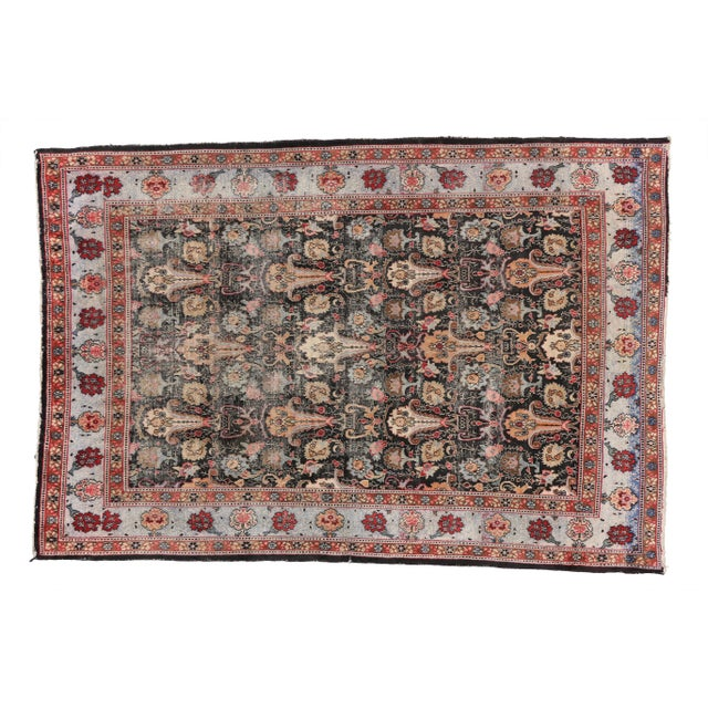 Distressed Antique Persian Khorassan Rug with Mid-Century Modern Style For Sale In Dallas - Image 6 of 7