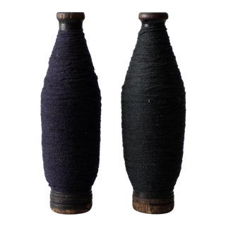 Antique Wooden Spools With Navy Thread - a Pair For Sale