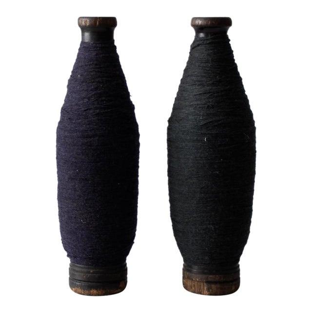 Antique Wooden Spools With Navy Thread - a Pair - Image 1 of 7