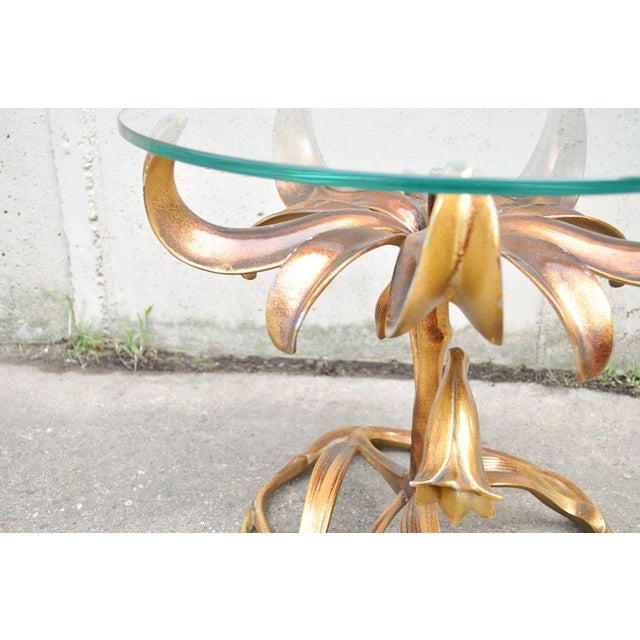 Vintage Arthur Court Mid-Century Hollywood Regency Gold Lily Side Table - Image 4 of 10