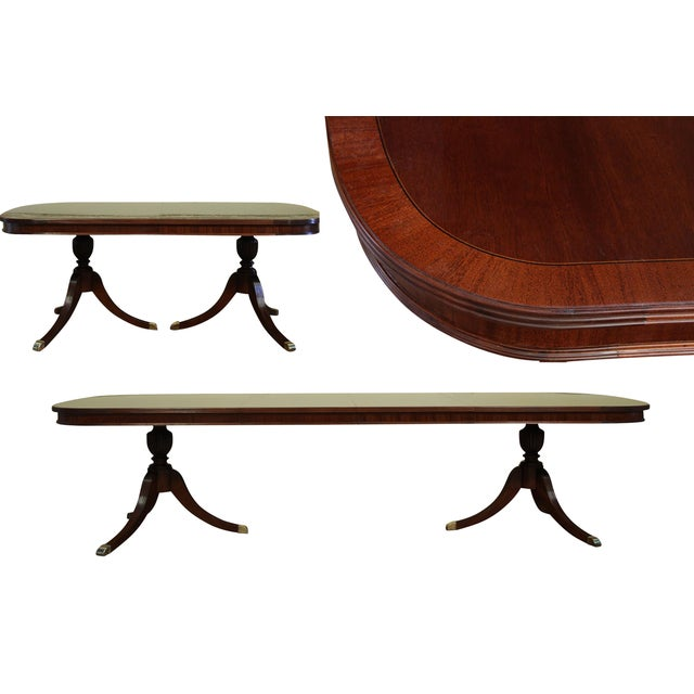 Formal Double Pedestal Mahogany Dining Table - Image 3 of 7
