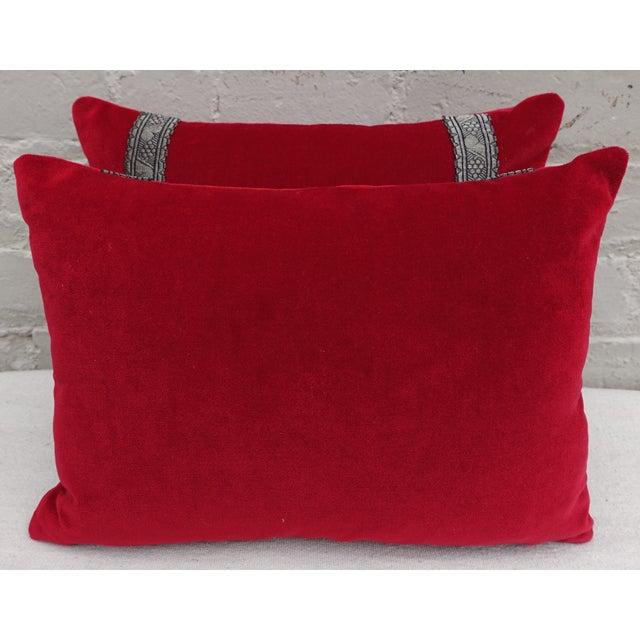 Custom Appliqued Red Velvet Pillows - A Pair - Image 3 of 4