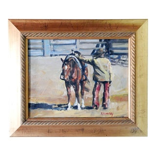 Cowboy & Horse Painting by B. Woosley For Sale