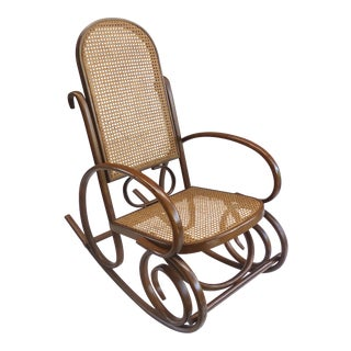 Mid-Century Bentwood & Cane Rocking Chair For Sale