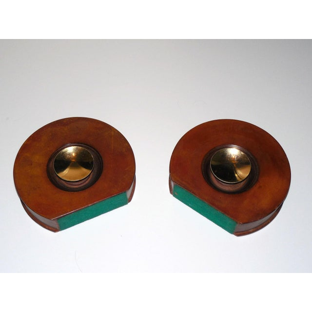 Modernist Round Leather & Brass Bookends - a Pair For Sale - Image 5 of 10