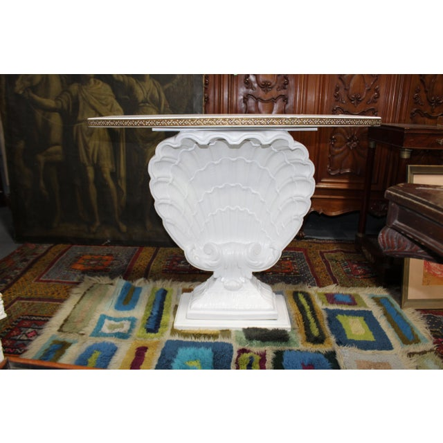 Hollywood Regency Shell Demilune For Sale - Image 4 of 5