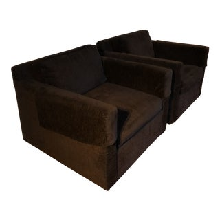 Modern Black Selig Club Chairs - A Pair For Sale