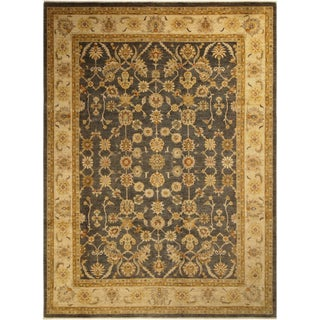 Boho Chic Kafkaz Peshawar Ronald Charcoal/Lt. Gold Hand-Knotted Rug - 8'11 X 11'8 For Sale