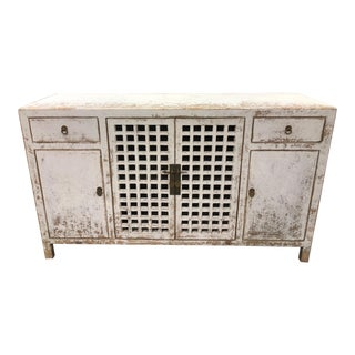 Distressed White Lattice Door Sideboard For Sale