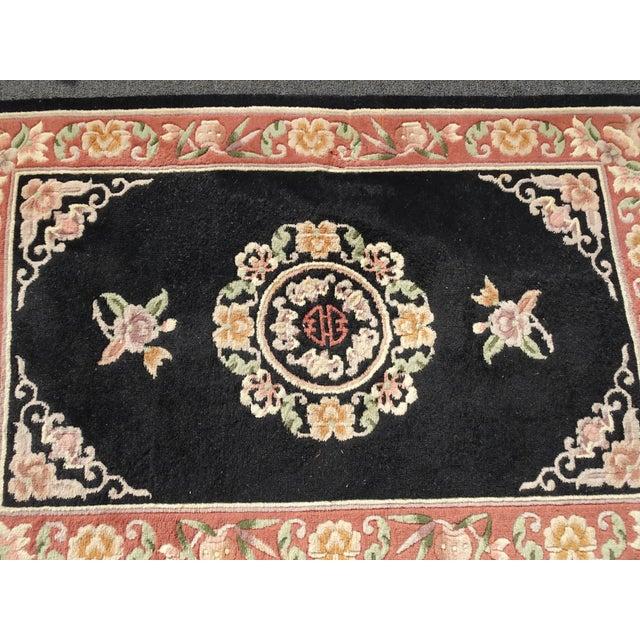 "Textile Vintage Oriental Asian Black W Pink Floral Print Area Rug 43"" X 75"" For Sale - Image 7 of 13"