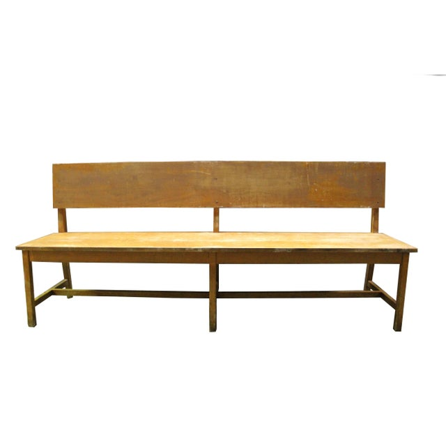 Set of six 79 inch long wooden benches from Israel.