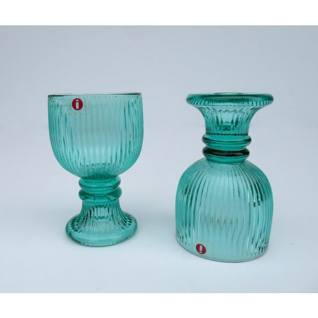 Glass Vintage l'Ittala Crystal Round Fluted Mint Cordial Glasses - Set of 2 For Sale - Image 7 of 13